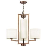 Hinkley 3209BR Hampton 4 Light 25 inch Brushed Bronze Chandelier Ceiling Light in Soft Linen Hardback Shade
