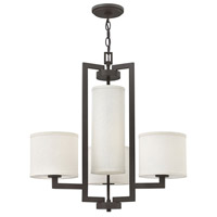 Hinkley 3209KZ Hampton 4 Light 25 inch Buckeye Bronze Chandelier Ceiling Light in Off-White Linen Hardback Shade, Off-White Linen Hardback Shade