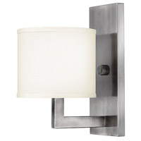 Hampton 1 Light 7 inch Antique Nickel Sconce Wall Light in Soft Linen Hardback Shade