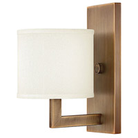 Hinkley 3210BR Hampton 1 Light 7 inch Brushed Bronze Sconce Wall Light in Soft Linen Hardback Shade