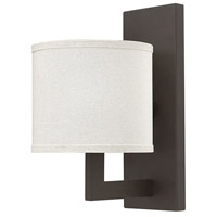 Hinkley 3210KZ Hampton 1 Light 7 inch Buckeye Bronze Sconce Wall Light, Off-White Linen Hardback Shade