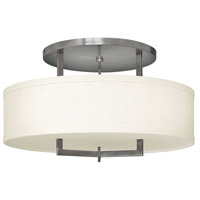 Hampton 3 Light 26 inch Antique Nickel Foyer Semi-Flush Mount Ceiling Light in Soft Linen Hardback Shade, Incandescent
