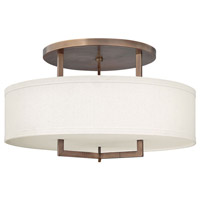 Hampton 3 Light 26 inch Brushed Bronze Semi Flush Ceiling Light in Soft Linen Hardback Shade, Incandescent