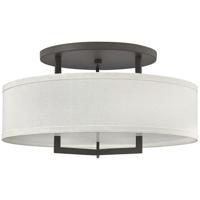 Hinkley 3211KZ-LED Hampton LED 26 inch Buckeye Bronze Foyer Semi-Flush Mount Ceiling Light Off-White Linen Hardback Shade