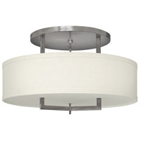 Hampton LED 26 inch Antique Nickel Semi Flush Ceiling Light in Soft Linen Hardback Shade