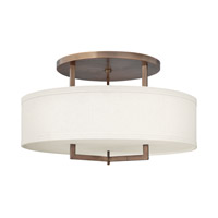Hinkley 3211BR-GU24 Hampton 3 Light 26 inch Brushed Bronze Semi-Flush Mount Ceiling Light in Off-White Linen Hardback Shade, GU24, Off-White Linen Hardback Shade