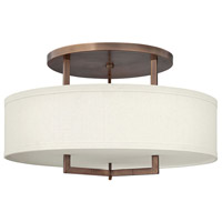 Hampton LED 26 inch Brushed Bronze Semi Flush Ceiling Light in Soft Linen Hardback Shade