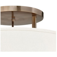 Hinkley 3211BR Hampton 3 Light 26 inch Brushed Bronze Foyer Semi-Flush Mount Ceiling Light in Soft Linen Hardback Shade, Incandescent alternative photo thumbnail