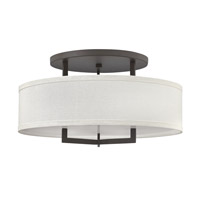Hinkley 3211KZ-GU24 Hampton 3 Light 26 inch Buckeye Bronze Semi-Flush Mount Ceiling Light in Off-White Linen Hardback Shade, GU24, Off-White Linen Hardback Shade
