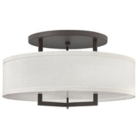 Hinkley 3211KZ Hampton 3 Light 26 inch Buckeye Bronze Semi-Flush Mount Ceiling Light in Off-White Linen Hardback Shade, Incandescent, Off-White Linen Hardback Shade