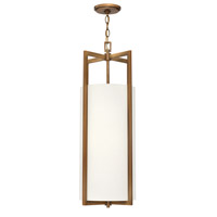 Hampton LED 12 inch Brushed Bronze Foyer Pendant Ceiling Light in Off-White Linen Hardback Shade, Off-White Linen Hardback Shade