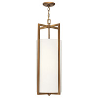 Hinkley 3212BR Hampton 4 Light 12 inch Brushed Bronze Foyer Pendant Ceiling Light in Incandescent, Off-White Linen Drum Shade