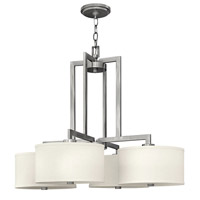 Hinkley 3214AN Hampton 4 Light 29 inch Antique Nickel Hanging Foyer Ceiling Light in Soft Linen Hardback Shade