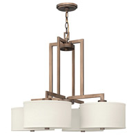 Hinkley 3214BR Hampton 4 Light 29 inch Brushed Bronze Hanging Foyer Ceiling Light in Soft Linen Hardback Shade