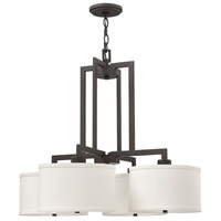 Hinkley 3214KZ Hampton 4 Light 29 inch Buckeye Bronze Foyer Light Ceiling Light in Off-White Linen Hardback Shade, Off-White Linen Hardback Shade