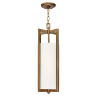 Hinkley 3217BR-LED Hampton LED 9 inch Brushed Bronze Mini-Pendant Ceiling Light in Off-White Linen Hardback Shade, Off-White Linen Hardback Shade