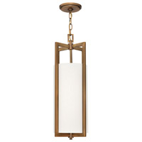 Hinkley 3217BR Hampton 1 Light 9 inch Brushed Bronze Mini-Pendant Ceiling Light in Soft Linen Hardback Shade, Incandescent, Off-White Linen Drum Shade