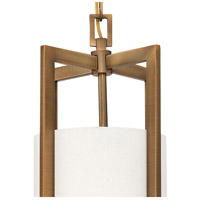 Hinkley 3217BR Hampton 1 Light 9 inch Brushed Bronze Mini-Pendant Ceiling Light in Incandescent, Off-White Linen Drum Shade alternative photo thumbnail