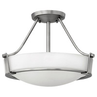 Hathaway 3 Light 16 inch Antique Nickel Semi Flush Ceiling Light in Etched, Incandescent