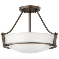 Hinkley 3220OB-WH Hathaway 3 Light 16 inch Olde Bronze Foyer Semi-Flush Mount Ceiling Light in Etched, Incandescent, Etched Glass