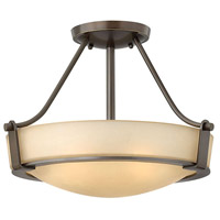 Hathaway 3 Light 16 inch Olde Bronze Semi Flush Ceiling Light in Amber Etched, Incandescent