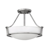 Hathaway 3 Light 16 inch Antique Nickel Semi-Flush Mount Ceiling Light in Etched, GU24, Etched Glass