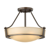 Hinkley 3220OB-GU24 Hathaway 3 Light 16 inch Olde Bronze Semi-Flush Mount Ceiling Light in Etched Amber, GU24, Etched Amber Glass