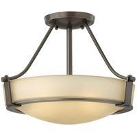 Hinkley 3220OB-LED Hathaway LED 16 inch Olde Bronze Semi-Flush Mount Ceiling Light in Etched Amber