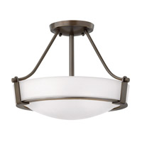 Hinkley 3220OB-WH-GU24 Hathaway 3 Light 16 inch Olde Bronze Semi-Flush Mount Ceiling Light in Etched, GU24, Etched Glass