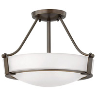 Hinkley 3220OB-WH-LED Hathaway 1 Light 16 inch Olde Bronze Semi-Flush Mount Ceiling Light in Etched, LED, Etched Glass
