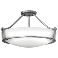 Hathaway 4 Light 21 inch Antique Nickel Semi Flush Ceiling Light in Etched, Incandescent