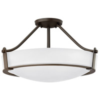 Hinkley 3221OB-WH Hathaway 4 Light 21 inch Olde Bronze Foyer Semi-Flush Mount Ceiling Light in Etched, Incandescent, Etched Glass