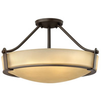 Hathaway 4 Light 21 inch Olde Bronze Semi Flush Ceiling Light in Amber Etched, Incandescent