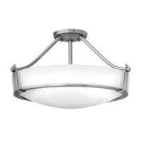 Hinkley 3221AN-GU24 Hathaway 4 Light 21 inch Antique Nickel Semi-Flush Mount Ceiling Light in Etched, GU24, Etched Glass