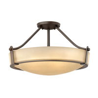 Hinkley Lighting Hathaway 4 Light Semi-Flush Mount in Olde Bronze with Etched Amber Glass 3221OB-GU24