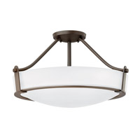 Hinkley 3221OB-WH-GU24 Hathaway 4 Light 21 inch Olde Bronze Semi-Flush Mount Ceiling Light in Etched, GU24, Etched Glass