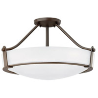 Hinkley 3221OB-WH-LED Hathaway 1 Light 21 inch Olde Bronze Semi-Flush Mount Ceiling Light in Etched, LED, Etched Glass
