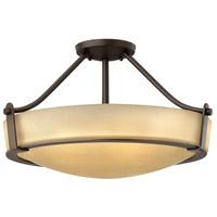 Hinkley 3221OB Hathaway 4 Light 21 inch Olde Bronze Semi-Flush Mount Ceiling Light in Incandescent Etched Amber