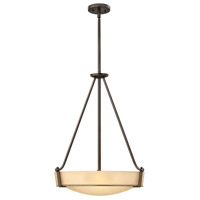Hathaway 4 Light 21 inch Olde Bronze Hanging Foyer Ceiling Light in Amber Etched, Incandescent