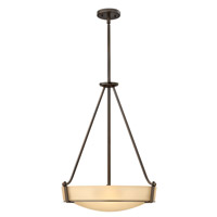 Hinkley Lighting Hathaway 4 Light Foyer in Olde Bronze with Etched Amber Glass 3222OB-GU24