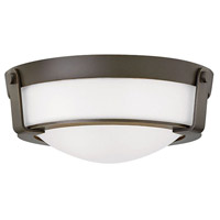 Hathaway LED 13 inch Olde Bronze Foyer Flush Mount Ceiling Light in Etched White, Etched Glass