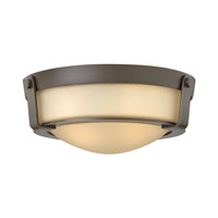Hinkley Lighting Hathaway 2 Light Flush Mount in Olde Bronze with Etched Amber Glass 3223OB-GU24
