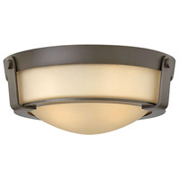 Hinkley Lighting Hathaway 1 Light Flush Mount in Olde Bronze with Etched Amber Glass 3223OB-LED