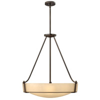 Hathaway 5 Light 27 inch Olde Bronze Hanging Foyer Ceiling Light in Amber Etched, Incandescent
