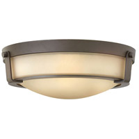 Hinkley 3225OB Hathaway 3 Light 16 inch Olde Bronze Foyer Flush Mount Ceiling Light in Incandescent, Etched Amber
