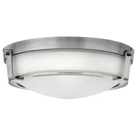 Hinkley Lighting Hathaway 1 Light Flush Mount in Antique Nickel with Etched Glass 3225AN-LED
