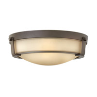 Hathaway 3 Light 16 inch Olde Bronze Flush Mount Ceiling Light in Etched Amber, GU24, Etched Amber Glass