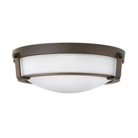 Hinkley 3225OB-WH-GU24 Hathaway 3 Light 16 inch Olde Bronze Flush Mount Ceiling Light in Etched, GU24, Etched Glass