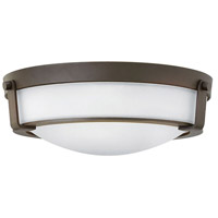 Hinkley 3225OB-WH-LED Hathaway 1 Light 16 inch Olde Bronze Flush Mount Ceiling Light in Etched, LED, Etched Glass