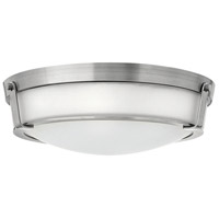 Hinkley Lighting Hathaway 1 Light Flush Mount in Antique Nickel with Etched Glass 3226AN-LED